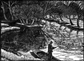 wood-engraving original print: Grantchester for the London Mercury